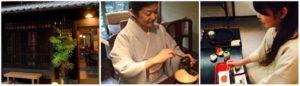 (左)満月の花、(中)茶道家田中賀鶴代,(右)料理研究家吉村雅子
